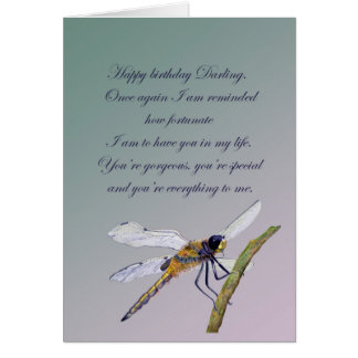 Dragonfly Romantic Birthday Wishes in Watercolour Greeting Card