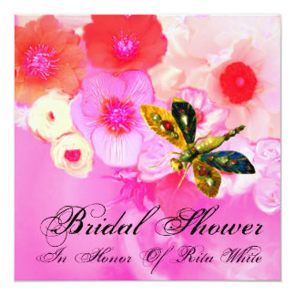 DRAGONFLY, ROSES AND ANEMONE FLOWERS BRIDAL SHOWER 13 CM X 13 CM SQUARE INVITATION CARD
