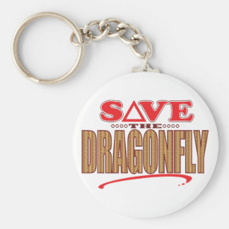 Dragonfly Save Basic Round Button Key Ring