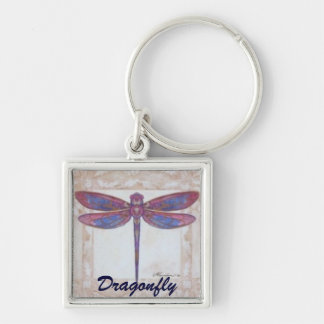 Dragonfly Silver-Colored Square Key Ring