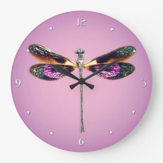 Dragonfly - silver, gold, purple and black large clock