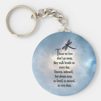 "Dragonfly ""So Loved"" Poem Basic Round Button Key Ring"
