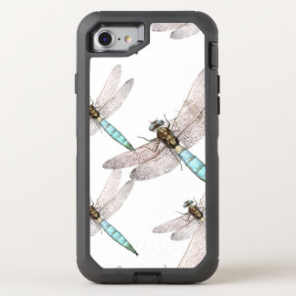 Dragonfly Swarm on White OtterBox Defender iPhone 8/7 Case