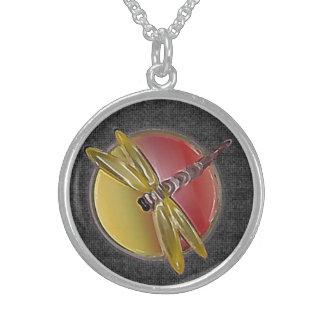 Dragonfly Symbol (black) Sterling Necklace