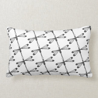 Dragonfly throw pillow black and white