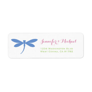Dragonfly | Tropical Colors | Blue Pink Green Return Address Label