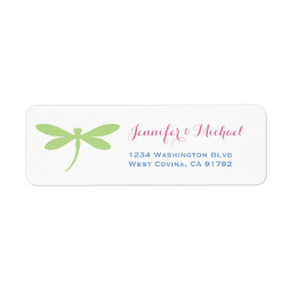 Dragonfly | Tropical Colors | Green Pink Blue Return Address Label