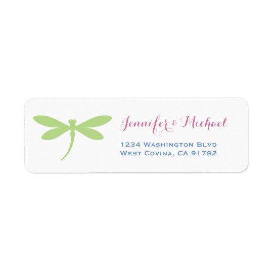 Dragonfly | Tropical Colours | Green Pink Blue Return Address Label