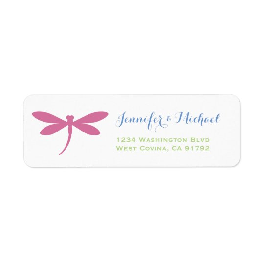 Dragonfly | Tropical Colours | Pink Blue Green Return Address Label