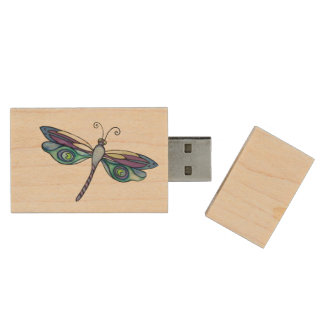 Dragonfly USB Wood USB 2.0 Flash Drive