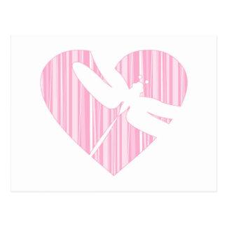 Dragonfly Valentine Heart Postcard