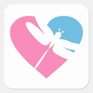 Dragonfly Valentine Heart Square Sticker
