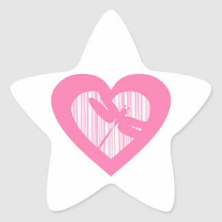 Dragonfly Valentine Heart Star Sticker