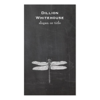 Dragonfly Vintage Etching Nature Black Business Cards