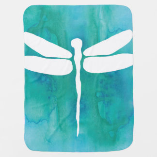 Dragonfly Watercolor White Aqua Blue Dragonflies Baby Blanket