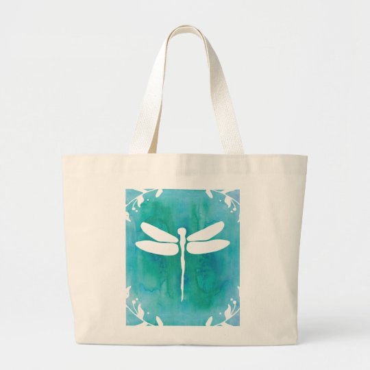 Dragonfly Watercolor White Aqua Blue Dragonflies Large Tote
