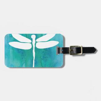 Dragonfly Watercolor White Aqua Blue Dragonflies Luggage Tag