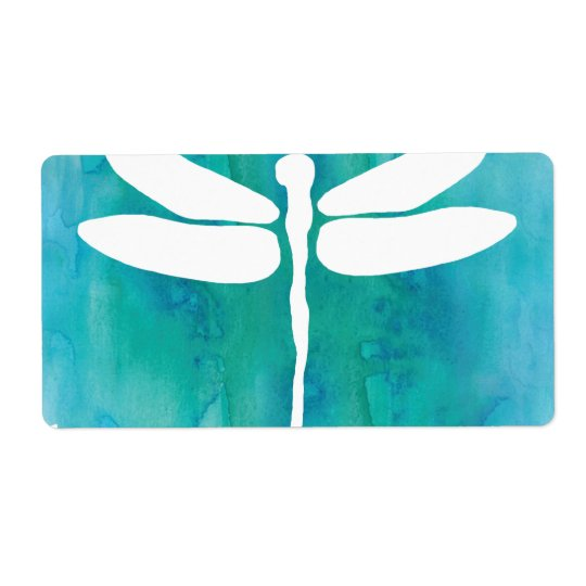 Dragonfly Watercolor White Aqua Blue Dragonflies Shipping Label