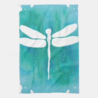 Dragonfly Watercolor White Aqua Blue Dragonflies Tea Towel