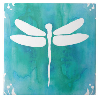 Dragonfly Watercolor White Aqua Blue Dragonflies Tile
