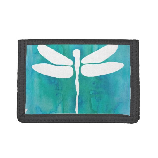 Dragonfly Watercolor White Aqua Blue Dragonflies Tri-fold Wallets