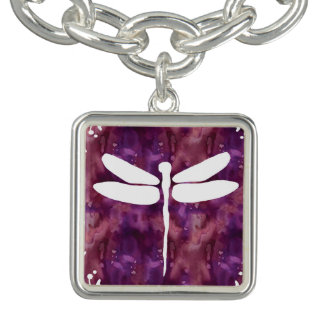 Dragonfly Watercolor White Purple Red Dragonflies