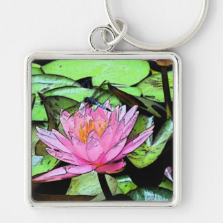 Dragonfly Waterlily sumi-e Silver-Colored Square Key Ring