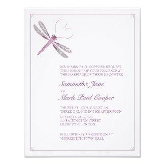 "Dragonfly Wedding Invitations 4.25"" X 5.5"" Invitation Card"