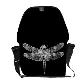 Dragonfly white messenger bags