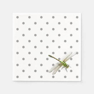 Dragonfly with grey polka dots paper napkin