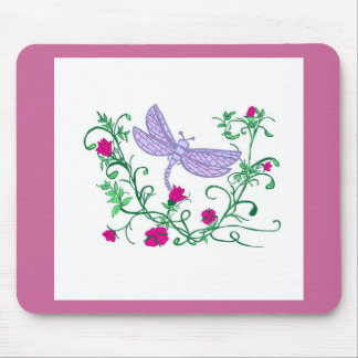 Dragonfly with vines mouse pad