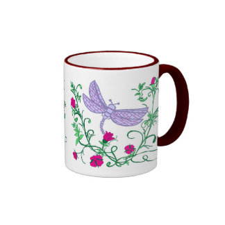 Dragonfly with vines ringer coffee mug