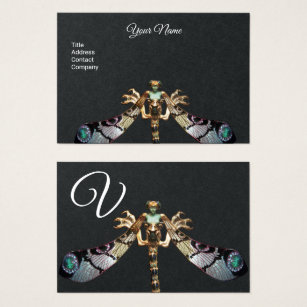 Modern vintage french business cards business card printing dragonfly woman fantasy jewel black paper monogram business card reheart Gallery