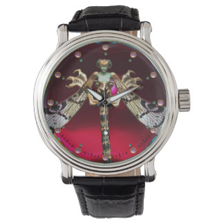 DRAGONFLY WOMAN WITH PINK GEMSTONES Red Burgundy Wristwatch