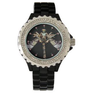DRAGONFLY WOMAN WITH PINK GEMSTONES WATCHES