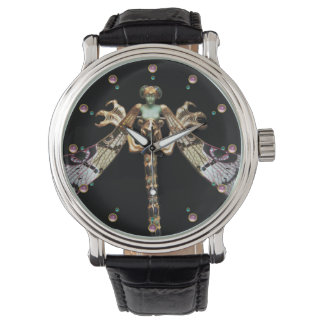 DRAGONFLY WOMAN WITH PINK GEMSTONES WRIST WATCH