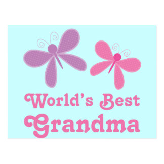 Dragonfly World s Best Grandma Gift Post Card