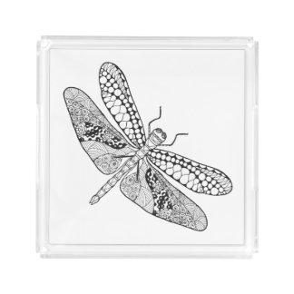 Dragonfly Zendoodle Acrylic Tray