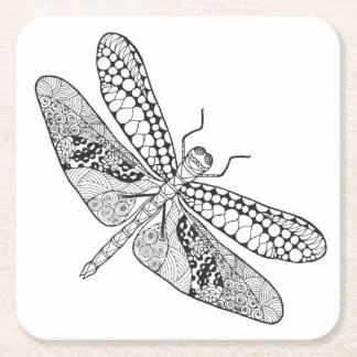 Dragonfly Zendoodle Square Paper Coaster