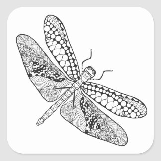 Dragonfly Zendoodle Square Sticker
