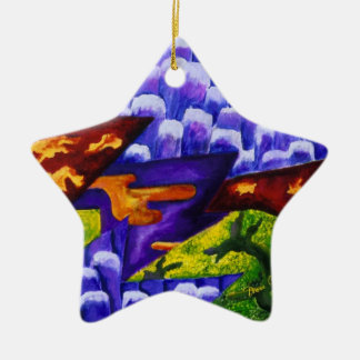 Dragonland - Green Dragons & Blue Ice Mountains Christmas Ornament