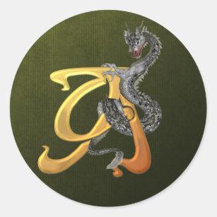 Dragonlore Initial A Classic Round Sticker