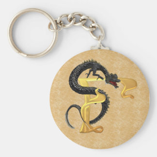 Dragonlore Initial F Basic Round Button Key Ring