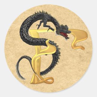 Dragonlore Initial F Round Sticker