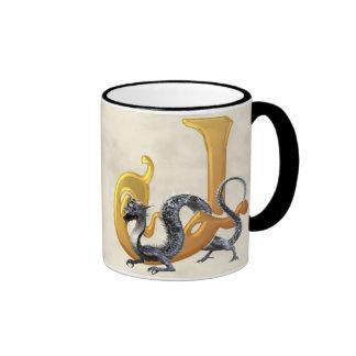 Dragonlore Initial J Ringer Coffee Mug