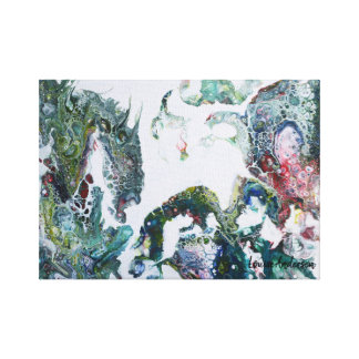 Dragons abstract fluid art painting canvas print