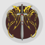 DRAGONS AND SWORD ROUND STICKERS