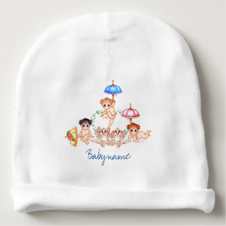 Dragons & Babies & Umbrellas at Play Personalized Baby Beanie