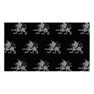 Dragons Black Grey Business Card Template