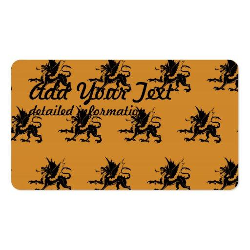 Dragons Black Orange Business Cards